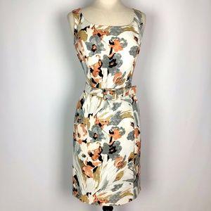 ST JOHN Mauve Floral Print Sleeveless Belted Dress